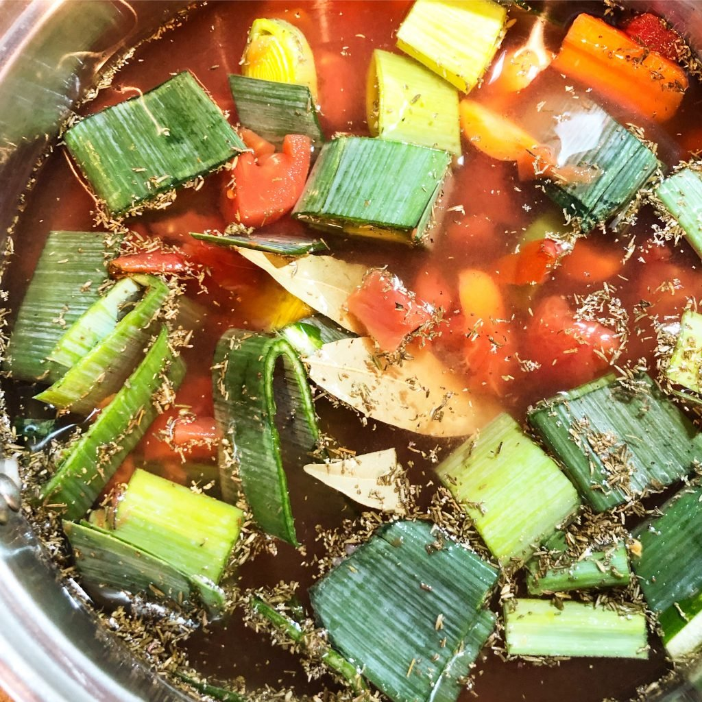 Easy 20 Minute Vegetable Broth |Ready in about 45 minutes, this recipe yields 1 quart of broth.
