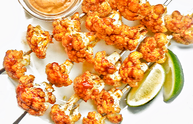 Spicy Grilled Cauliflower with Adobo Dipping Sauce