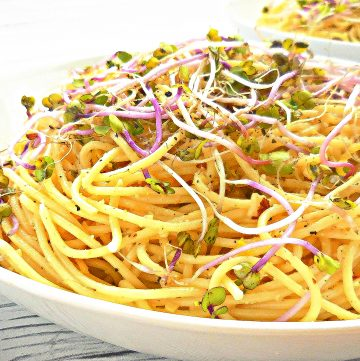 Lemon Capellini with Homemade Vegan Almond Parmesan - A quick and easy weeknight dinner or make-ahead for a potluck with friends.