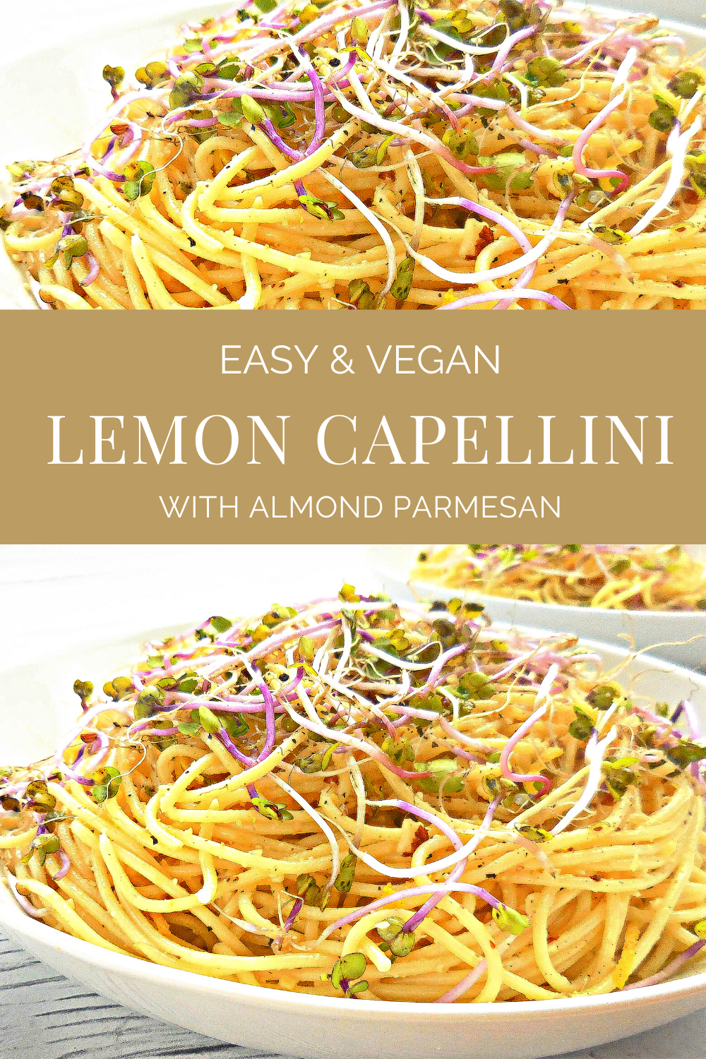 Lemon Capellini with Homemade Vegan Almond Parmesan - A quick and easy chilled pasta perfect for a weeknight dinner or make-ahead for a summertime potluck. #veganpasta #easyvegandinner #lemonspaghettu #thiswifecooksrecipes #coldpasta #pastapotluckrecipes via @thiswifecooks