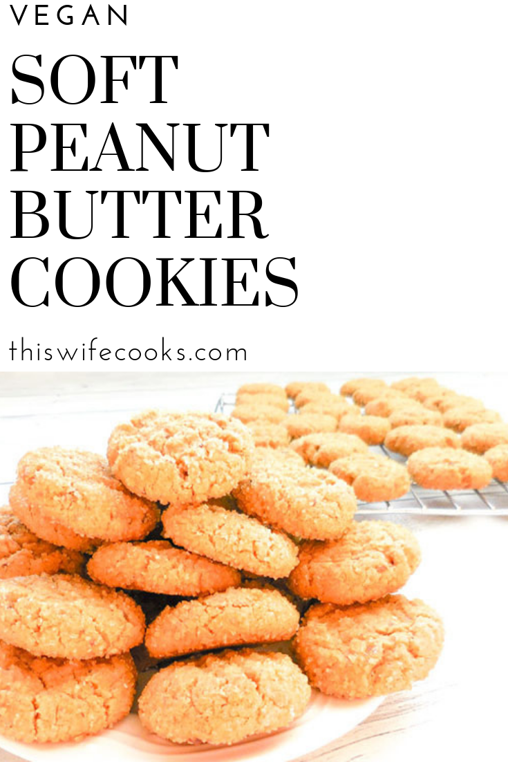 Soft Peanut Butter Cookies - Thick and rich with a touch of sweetness, this vegan version of the old school classic makes for an easy no-fuss dessert! via @thiswifecooks