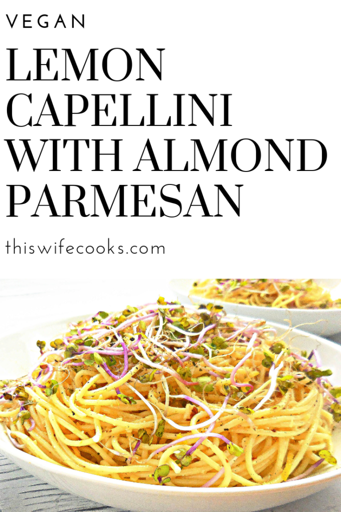 Perfect as a quick and easy weeknight dinner or a make-ahead dish for a potluck with friends, this lemon capellini with homemade vegan almond parmesan is capped off with in-season radish sprouts that add a pop of color and a satisfying crunch.