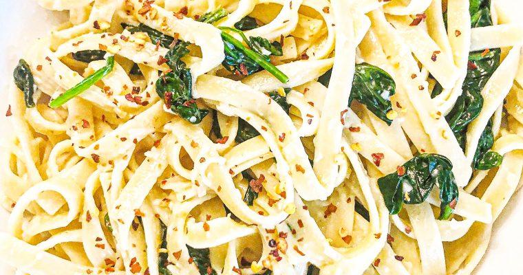 Vegan Spinach Parmesan Fettuccine