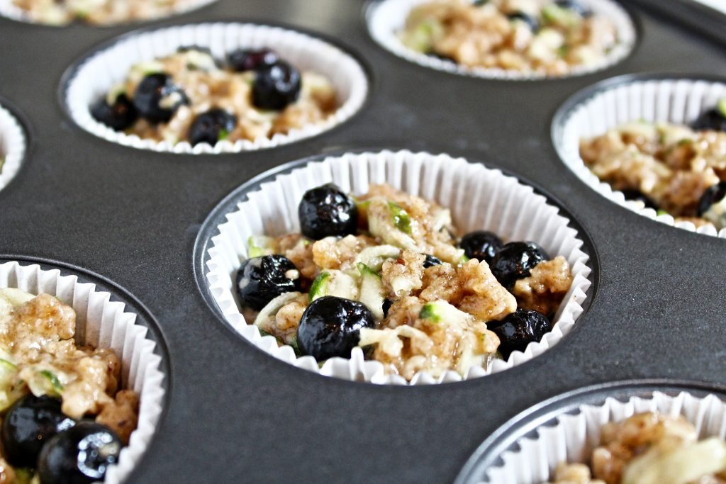Blueberry and Zucchini Muffins with Streusel Topping | Easy | Dairy Free | Vegan