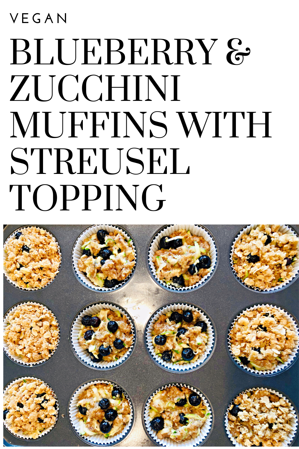 Blueberry and Zucchini Muffins with Streusel Topping - Sweet and savory flavors of the season shine in these quick easy vegan blueberry zucchini muffins that are perfect for breakfast or snacking! via @thiswifecooks