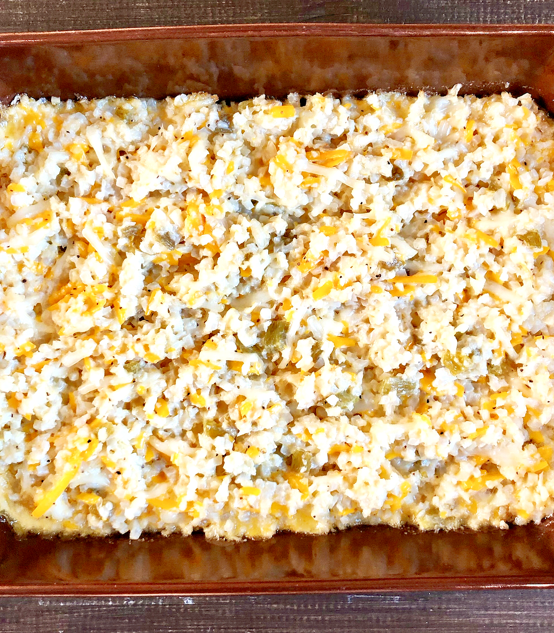 Cheesy Green Chile Cauliflower Rice Casserole