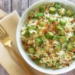 Late Summer Okra Pilaf with Coconut Bacon