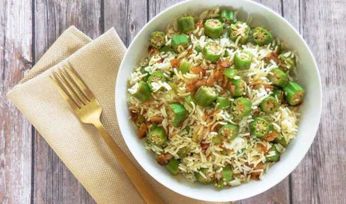 Late Summer Okra Rice Pilaf with Coconut Bacon |Fresh okra is tossed with a bold and savory, cayenne-infused rice pilaf then topped with a sweet and smoky homemade coconut bacon.