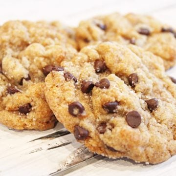 Vegan Salted Chocolate Chip Cookies - Soft and chewy, with just the right amount of sweetness and a sprinkling of sea salt as they come out of the oven.