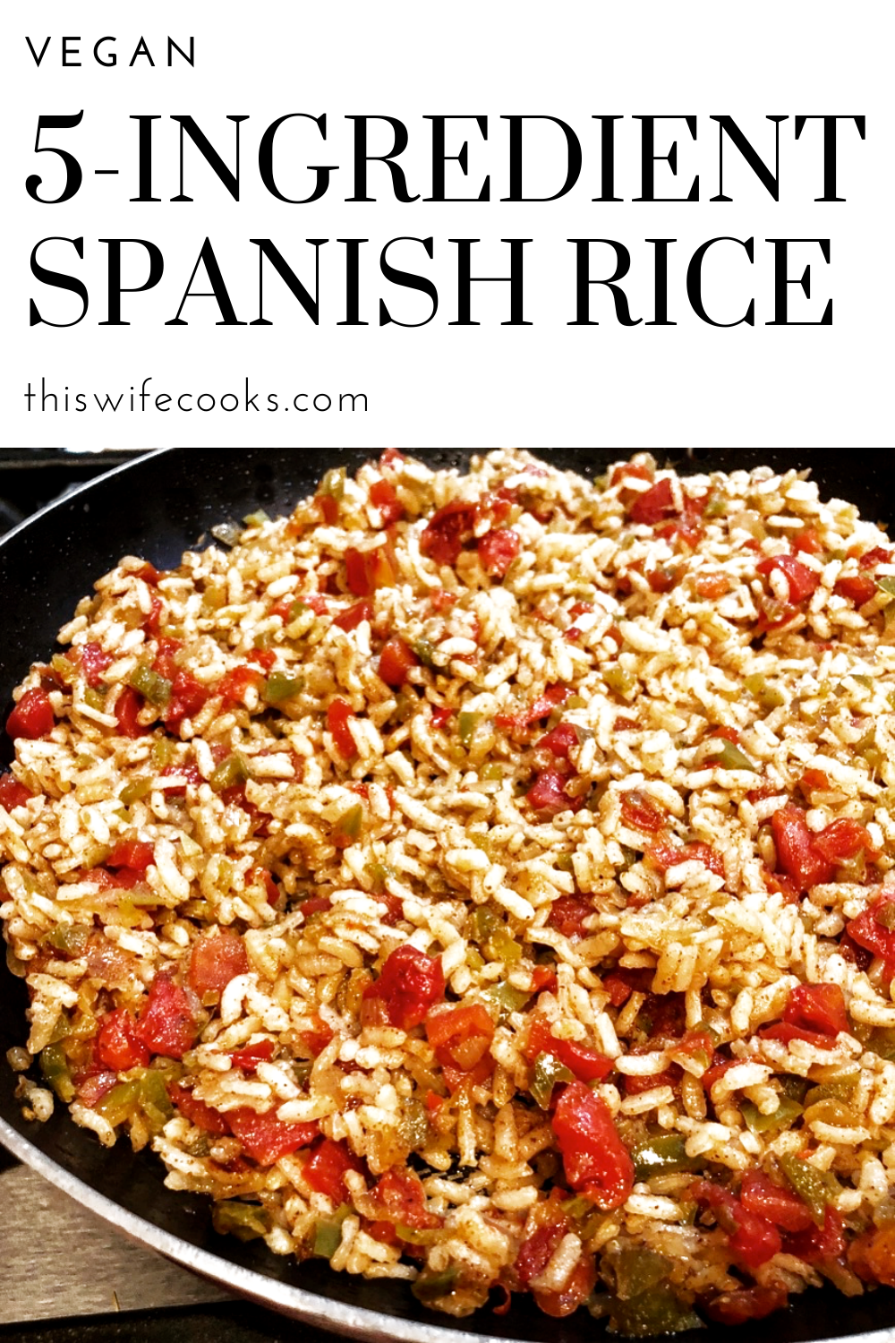 5-Ingredient Vegan Spanish Rice - A quick and easy vegan Spanish rice. Perfect on the side with tacos, as filling for enchiladas and burritos, or a hearty addition to your taco salad. via @thiswifecooks