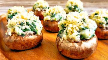 Spinach Mashed Potato Stuffed Mushrooms
