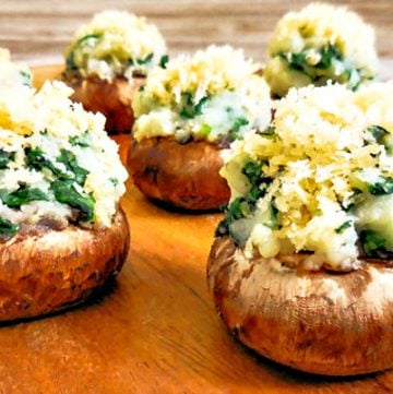 Vegan Spinach Mashed Potato Stuffed Mushrooms | thiswifecooks.com