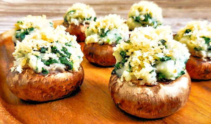 Spinach Mashed Potato Stuffed Mushrooms