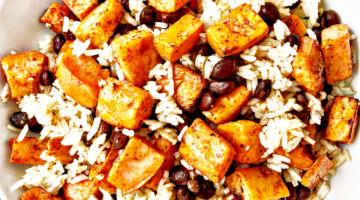 Roasted Sweet Potato, Black Bean and Lime Rice Bowls