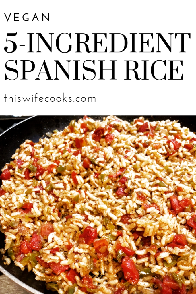 A quick and easy 5-ingredient vegan Spanish rice. Perfect on the side with tacos, as filling for enchiladas and burritos, or a hearty addition to your taco salad.