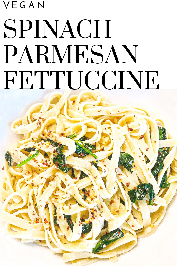 Vegan Spinach Parmesan Fettuccine - Just 5 ingredients! Vegan spinach parmesan fettuccine is a favorite go-to meal when we're short on time or crave the simplicity of an easy, no-fuss dinner. via @thiswifecooks