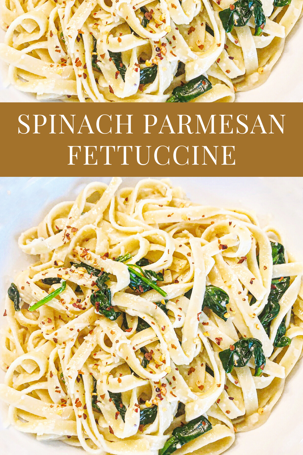 Vegan Spinach Parmesan Fettuccine - Just 5 ingredients! Vegan spinach parmesan fettuccine is a favorite go-to meal when we're short on time or crave the simplicity of an easy, no-fuss dinner. | thiswifecooks.com