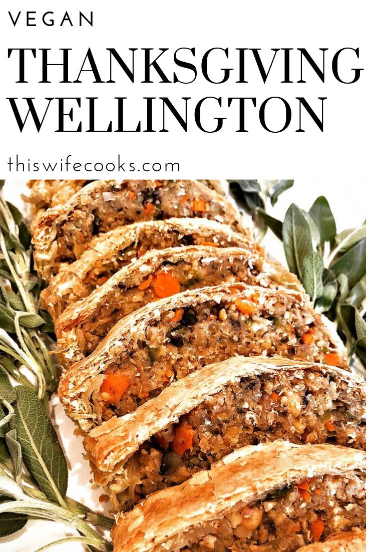 Vegan Thanksgiving Wellington - Loaded with savory quinoa, garbanzo beans, & veggies, then wrapped & baked in puff pastry. #veganthanksgiving #veganthanksgivingmain via @thiswifecooks