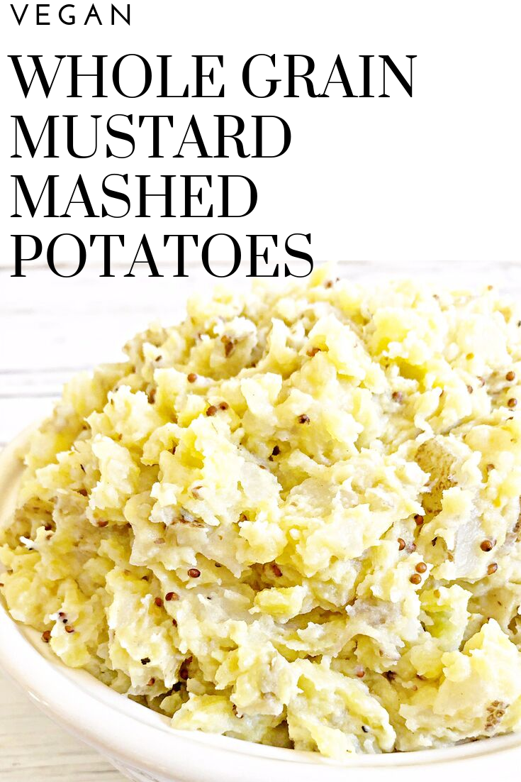 Vegan Whole Grain Mustard Mashed Potatoes | Simple, savory, and ready to serve in under 30 minutes. A perfect addition to the Oktoberfest or St. Patrick's Day menu! via @thiswifecooks