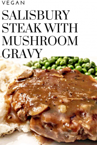 Vegan Salisbury Steak with Homemade Mushroom Gravy | Simple and satisfying, old school stick to your ribs comfort food. This one is sure to become a family favorite!