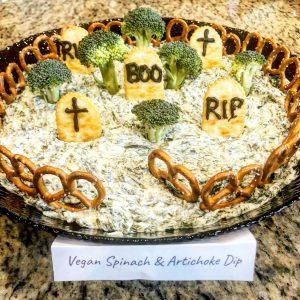 5-Ingredient Vegan Spinach and Artichoke Dip with graveyard presentation - perfect for Halloween!