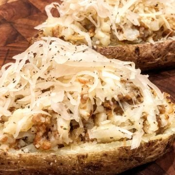 Vegan Sausage and Sauerkraut Stuffed Potatoes