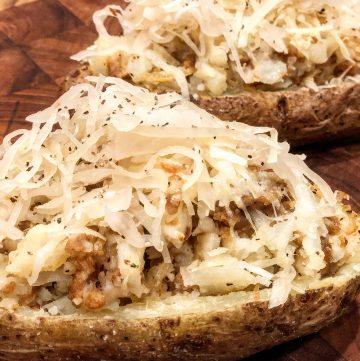 Vegan Sausage and Sauerkraut Stuffed Potatoes