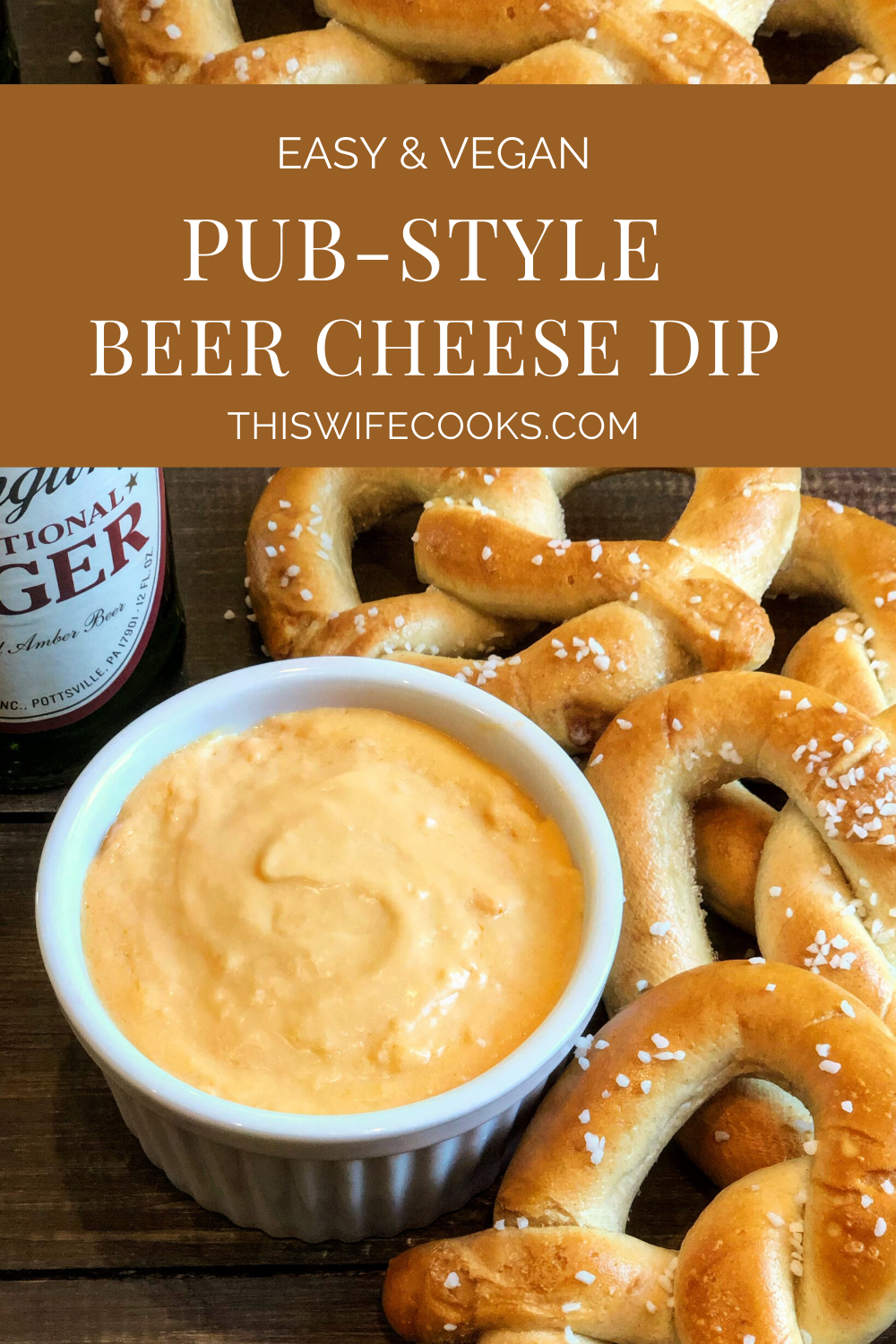 Vegan Pub Style Beer Cheese Dip - All the classic beer cheese flavor you know and love in a quick and easy vegan dip!  #vegancheesedip #veganbeercheese #thiswifecooksrecipes #plantbasedrecipes #easyvegansnacks  via @thiswifecooks