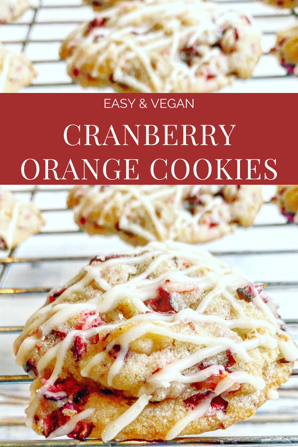 Vegan Cranberry Orange Cookies - Perfectly soft with a blend of citrus, sweet, and tart. These easy vegan cranberry orange cookies are a festive addition your holiday dessert table!  #cranberryorange #vegancookies #veganchristmascookies #cranberrycookies #thiswifecooksrecipes #cranberryorangecookieschristmas #cranberryorangecookiesrecipe #cranberryorangecookiessoft  via @thiswifecooks