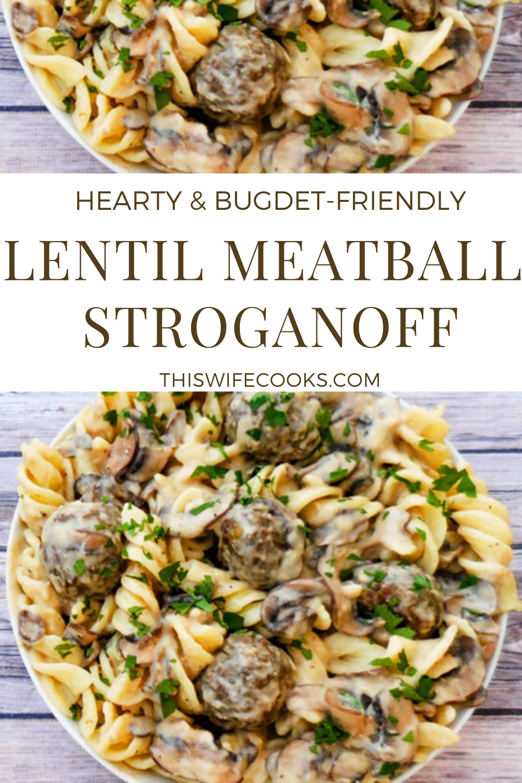 Vegan Lentil Meatball Stroganoff - Rich and creamy lentil meatball stroganoff made with homemade, pan-seared lentil meatballs tossed in a vegan sour-cream-and-mushroom sauce.  #veganstroganoff #lentilrecipes #vegandinnerideas #plantbaseddinners #thiswifecooksrecipes #veganrecipes #lentilmeatballrecipe via @thiswifecooks
