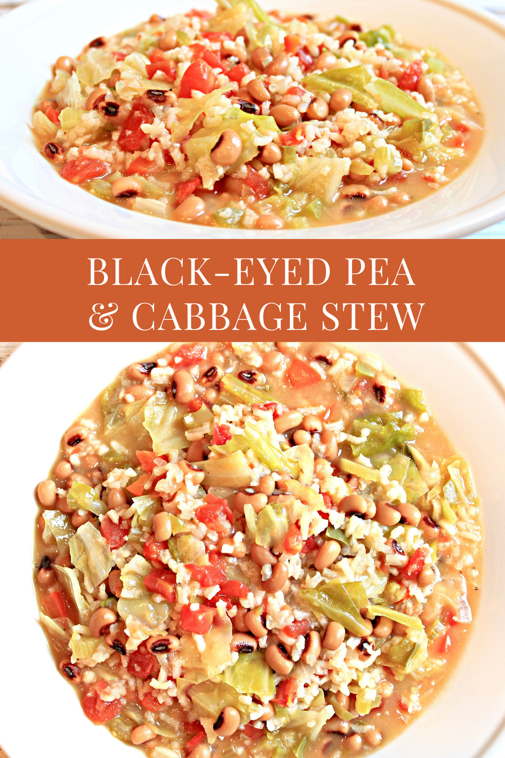 Black-Eyed Pea and Cabbage Stew -Kick off the new year with hearty and healthy vegan black-eyed pea and cabbage stew loaded with good-for-you ingredients! via @thiswifecooks