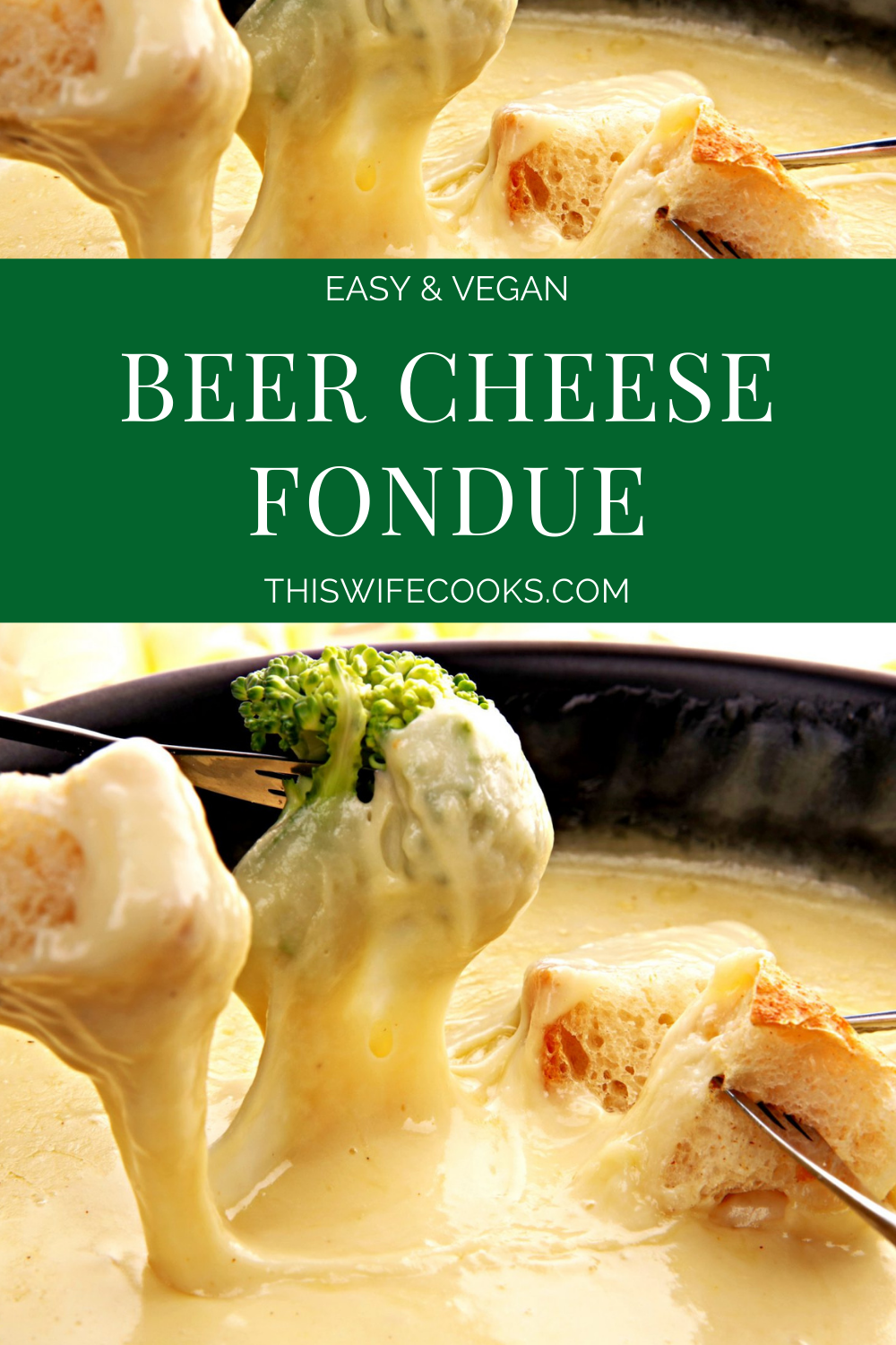 A crowd pleasing vegan beer cheese fondue perfect for holiday get-togethers, game day, or anytime you want to add a fun communal twist to dinner at home! via @thiswifecooks