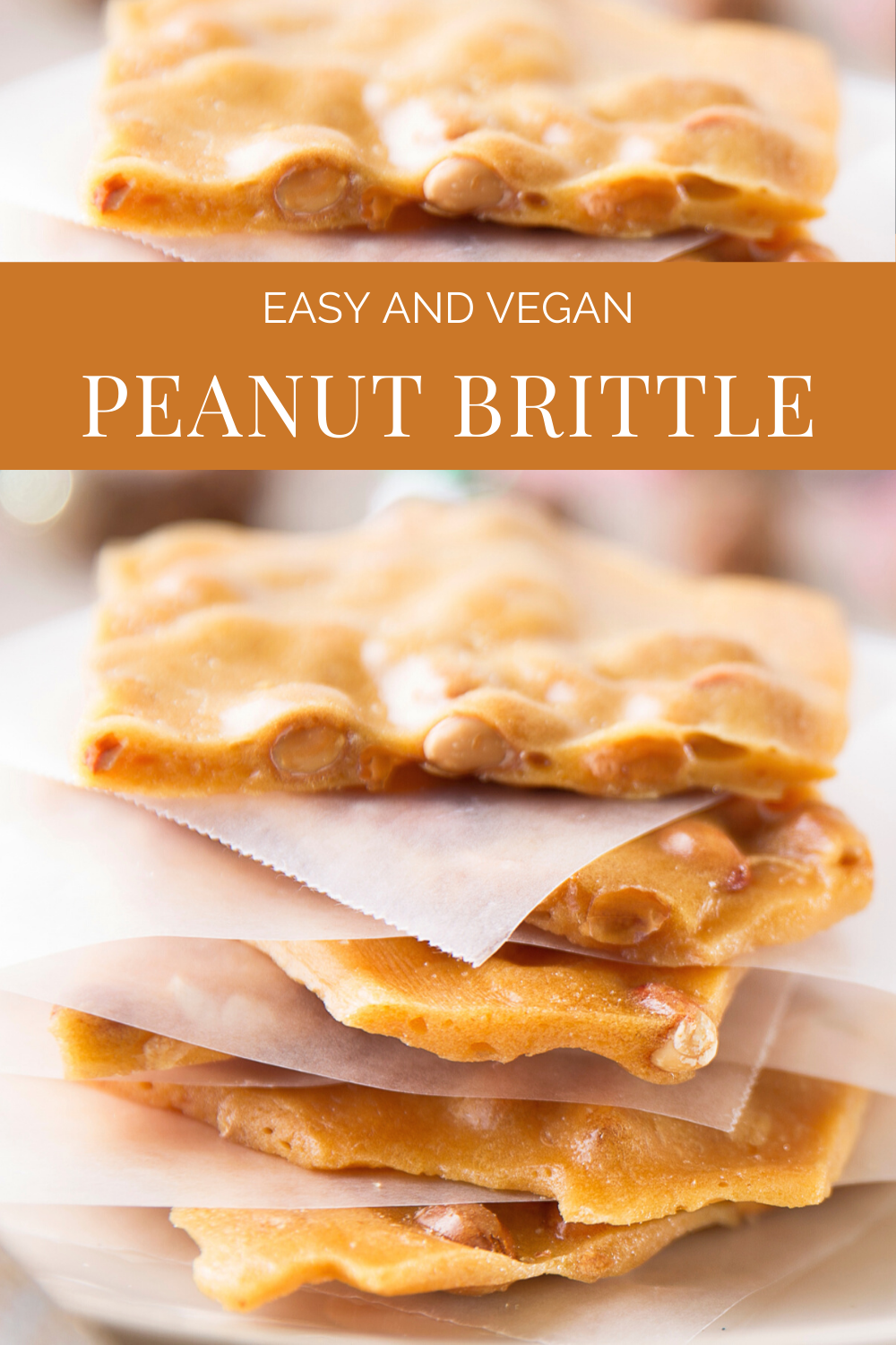 Traditional Vegan Peanut Brittle - This classic holiday candy is easy to make and does not require refrigeration making it perfect for gifting! #vegancandyrecipe #easypeanutbrittle #veganchristmascandy via @thiswifecooks