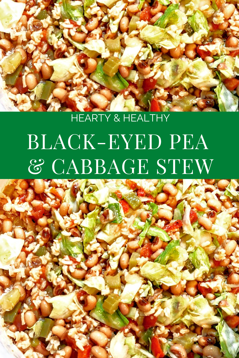 A hearty and healthy vegan black-eyed pea and cabbage stew packed with good-for-you ingredients! | thiswifecooks.com #blackeyedpearecipes #cabbagerecipes #easyveganrecipes #plantbaseddinnerideas #budgetmealideas #highproteinveganrecipes #thiswifecooksrecipes #blackeyedpeaandcabbage #easyvegandinner #plantbaseddinner via @thiswifecooks