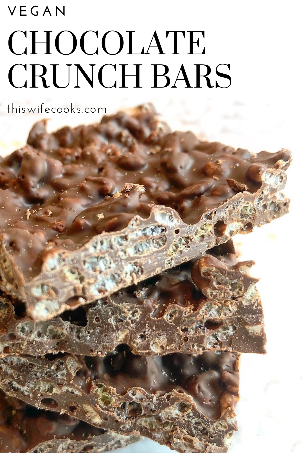 Vegan Chocolate Crunch Bars - Super quick & always popular! Perfect for holidays, class parties or any time you're craving a sweet & simple candy treat. via @thiswifecooks