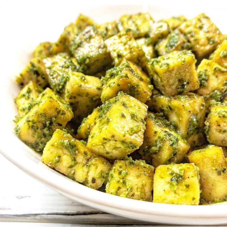 Vegan Baked Pesto Tofu Bites