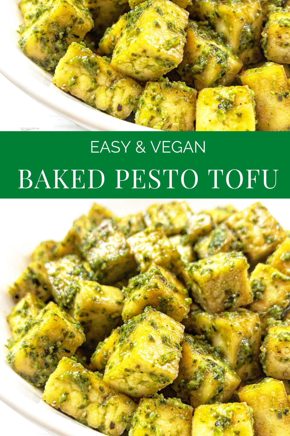 Baked Pesto Tofu - Basil pesto is tossed with tofu that has been seasoned and roasted with simple spices for a savory dish that is practically effortless! 
