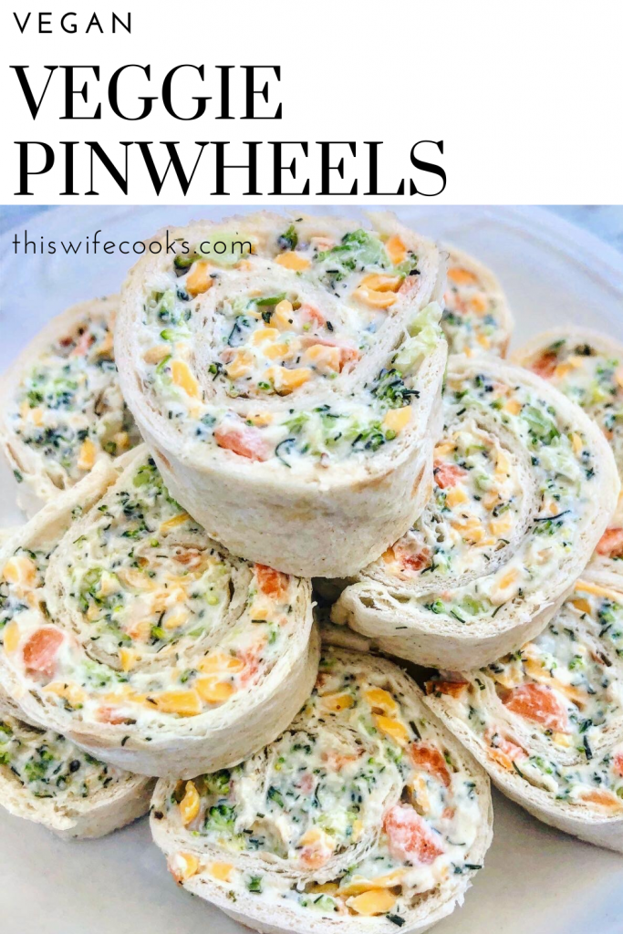 Vegan Veggie Pinwheels - Broccoli and carrots with all-vegan cream cheese, mayonnaise, cheddar cheese, herbs & spices for an easy, crowd-pleasing appetizer!