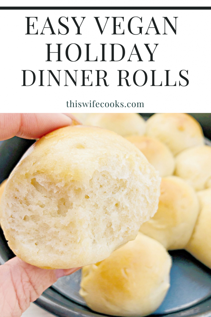 Easy Vegan Pull-Apart Dinner Rolls - Impress your guests with soft and fluffy homemade dinner rolls! Perfect for the holiday dinner table! | thiswifecooks.com #thanksgivingbreadrollrecipe #yeastrolls #dairyfreedinnerrolls #veganthanksgivingrecipes #thiswifecooksrecipes
