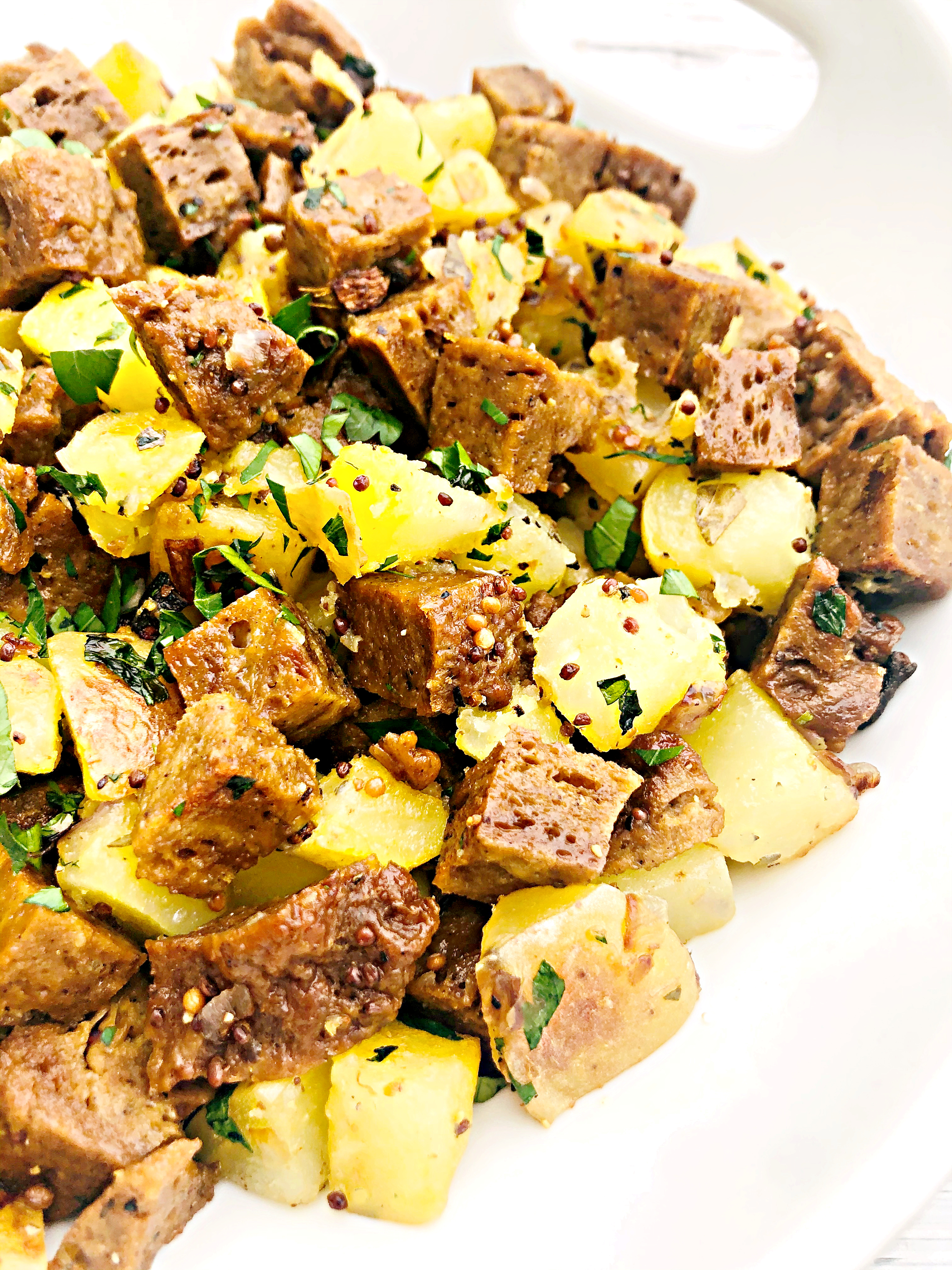 Vegan Corned Seitan Hash - A plant-based alternative to corned beef hash!  via @thiswifecooks