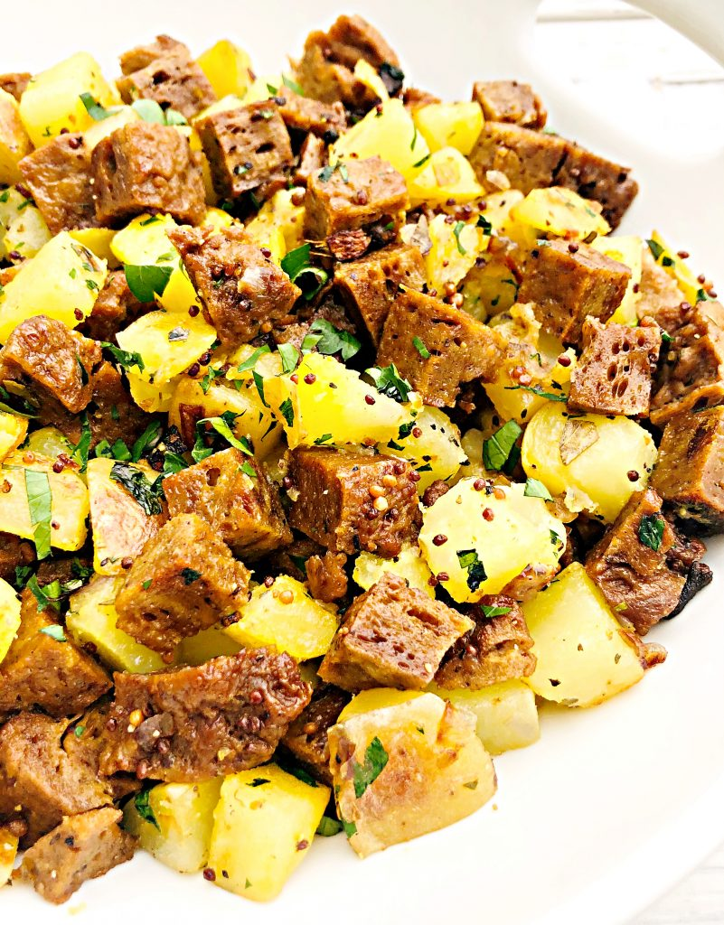 Vegan Corned Seitan Hash - a plant-based alternative to corned beef hash!