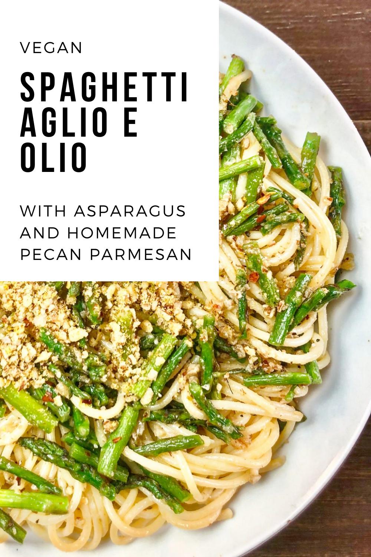 Spaghetti Aglio e Olio with Asparagus via @thiswifecooks