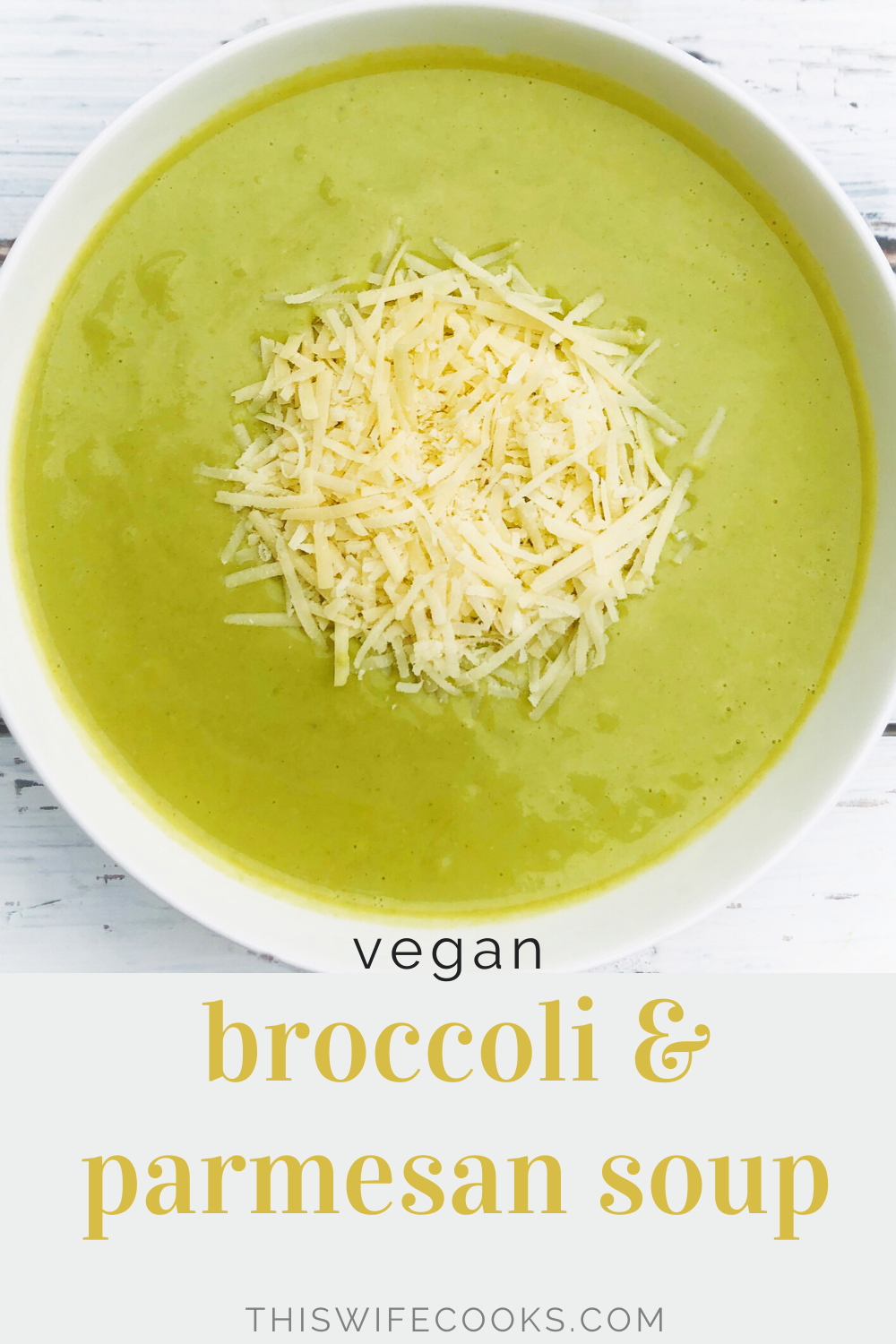 Vegan Broccoli and Parmesan Soup - Quick and easy - Creamy without feeling heavy - Packed with good-for-you ingredients - Ready to serve in 30 minutes or less! | thiswifecooks.com
