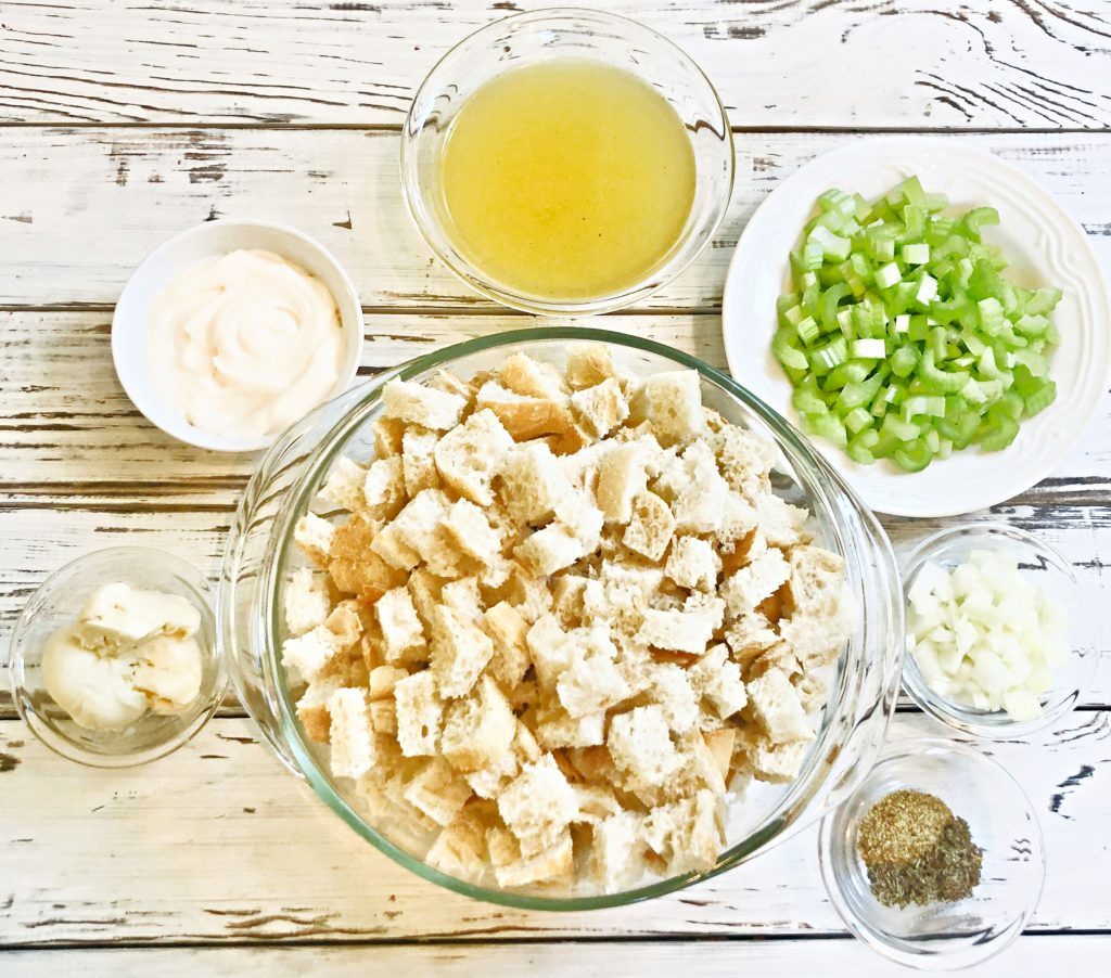 Sourdough and Celery Dressing - A hearty and savory baked casserole dressing that is easy to make and perfect for the holiday table! #sourdoughdressing #veganthanksgiving #plantbasedthanksgiving #celerydressing #veganeasterrecipes #veganthanksgivingrecipes #thiswifecooksrecipes #sourdoughandcelery