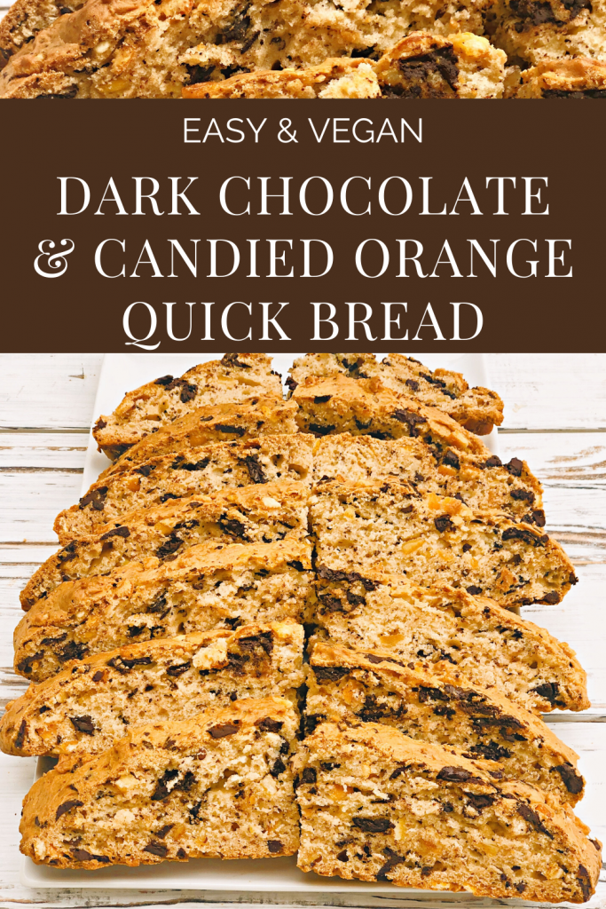 Simple but decadent baked bread, with the classic combination of orange and chocolate. Pairs as well with coffee at brunch as with red wine for dessert. #chocolatebreadrecipe #chocolateandorangedesserts #veganchocolaterecipe #thiswifecooksrecipes #veganbrunchrecipes #veganquickbread #oilfreebread #dairyfreebread #yeastfreebread