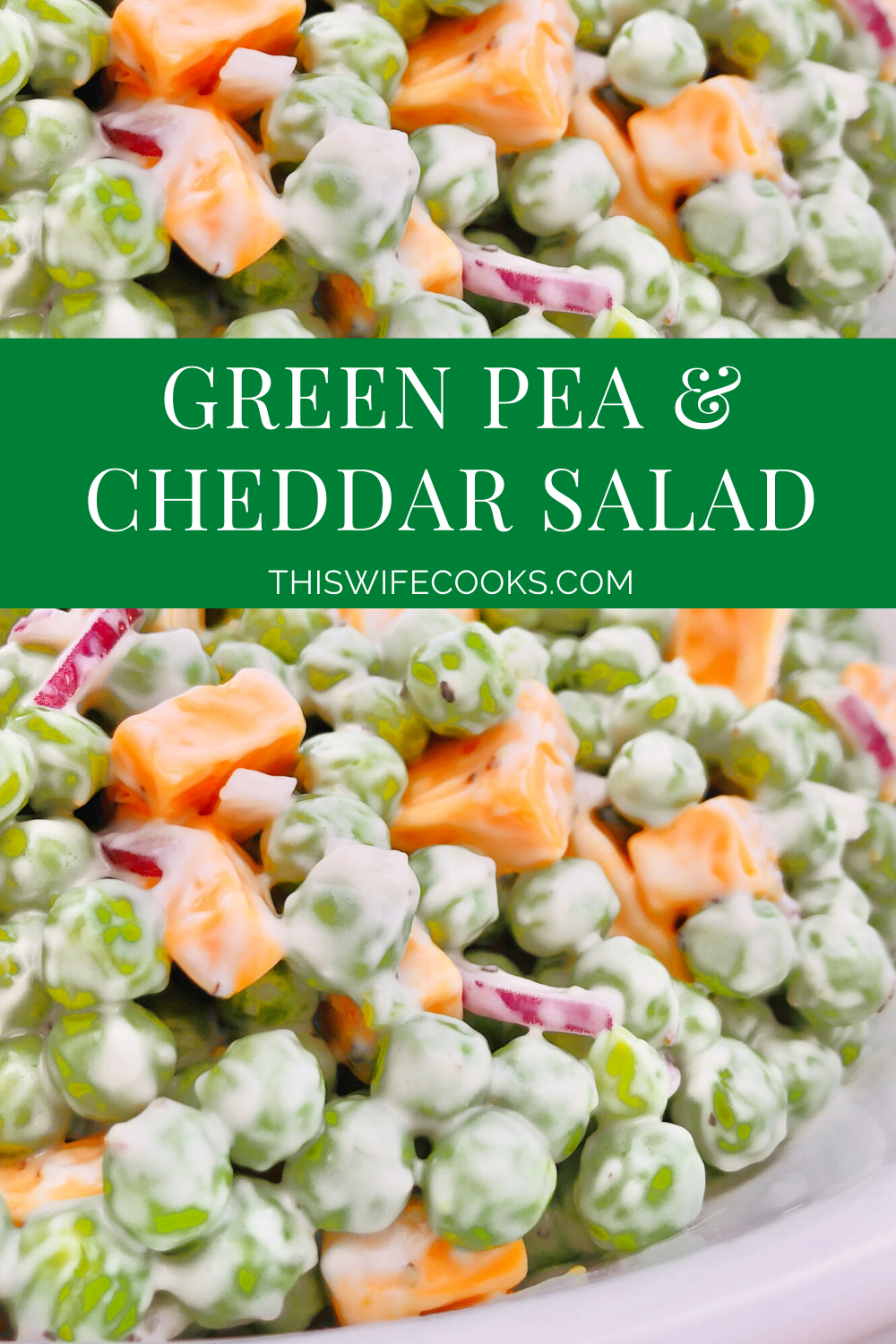Green Pea and Cheddar Salad - A classic side dish made with only a handful of simple plant-based ingredients! via @thiswifecooks