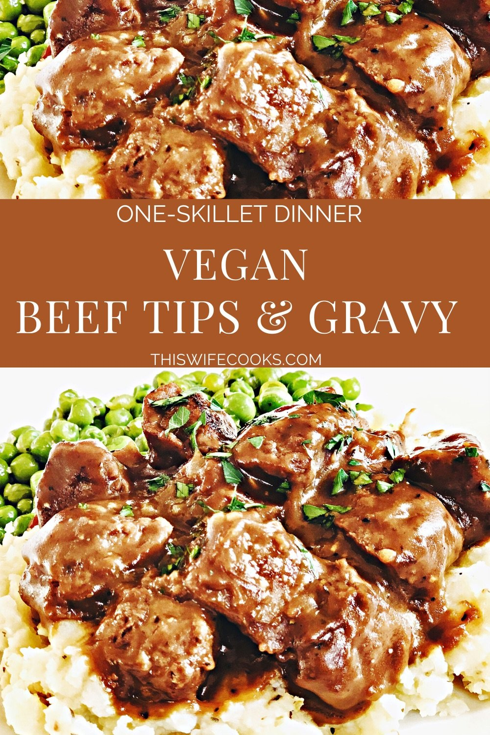 Vegan Beef Tips and Gravy - A hearty and delicious plant-based version of the meat and potatoes classic! #veganbeefrecipes #veganbeeftipsandgravy #veganbeeftipsrecipes #plantbasedbeefrecipes #thiswifecooksrecipes #veganquarantinerecipes #gardeinrecipes #easyvegandinnerrecipes via @thiswifecooks