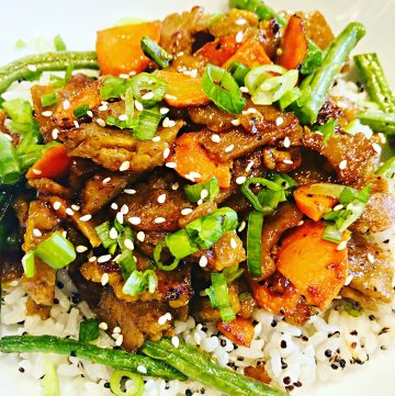 Apricot Glazed Seitan Rice Bowls - An easy and flavorful dinner that you can have on the table in about 30 minutes!