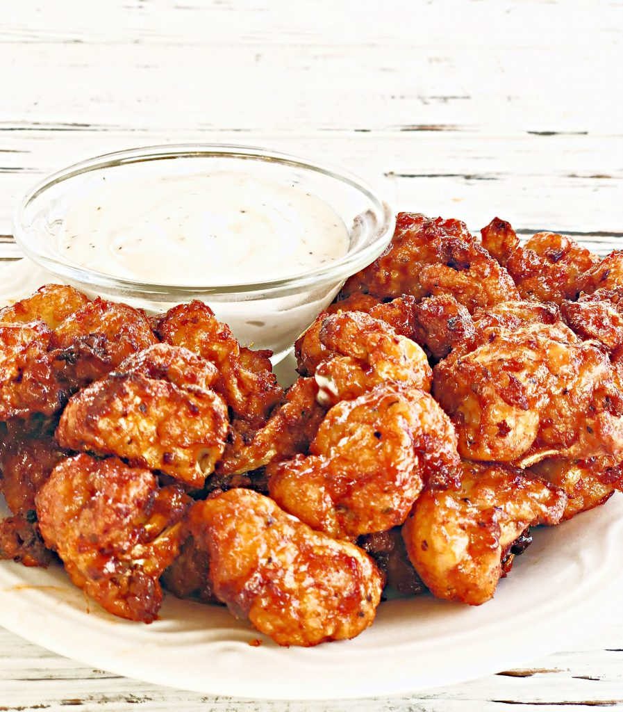 BBQ Cauliflower Bites - Crisp & delicious, finger-licking sticky, air fried BBQ cauliflower - perfect as a party snack, side dish, or entree. Six simple ingredients!