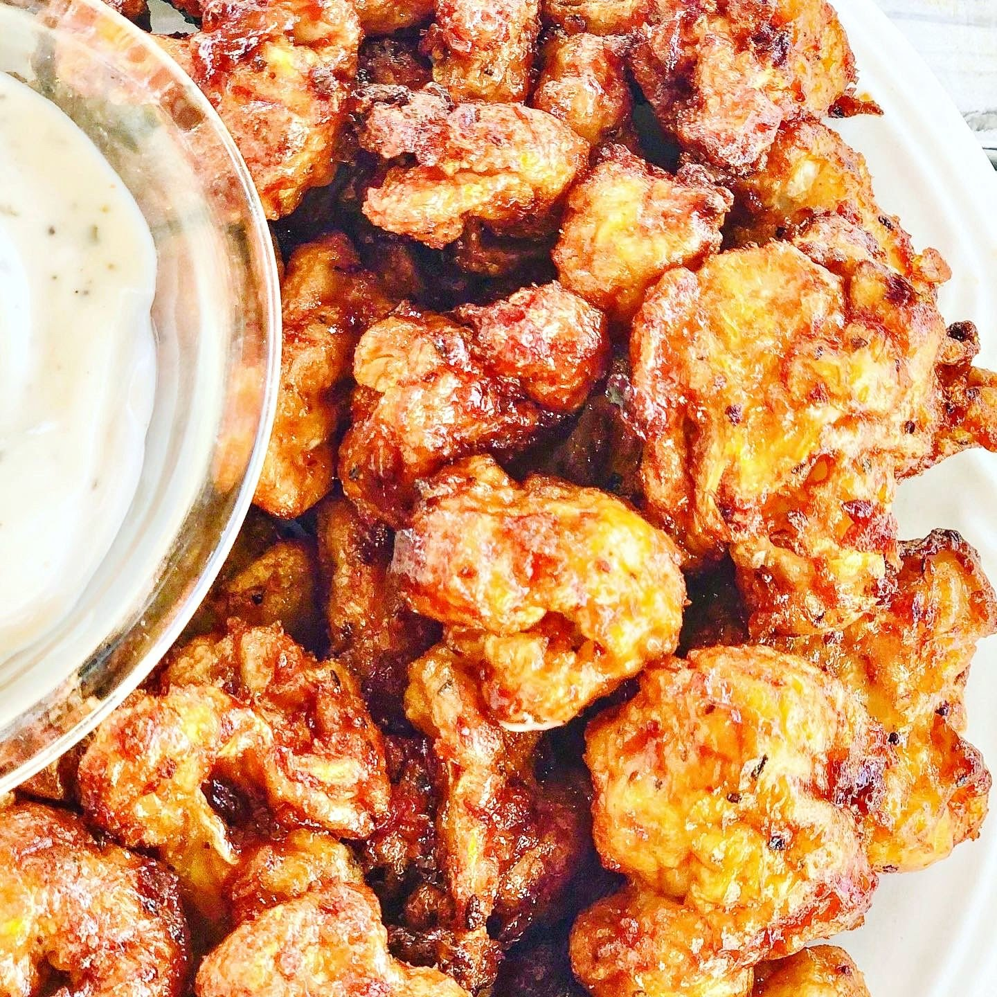 BBQ Cauliflower Bites - Crisp & delicious, finger-licking sticky, air fried BBQ cauliflower - perfect as a party snack, side dish, or entree. Six simple ingredients! via @thiswifecooks